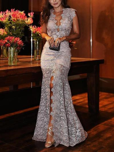 Deep V neck lace gown evening dresses
