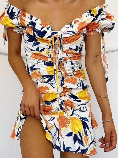 Fashion Print Lacing V neck Short sleeve Off shoulder Skater Dresses