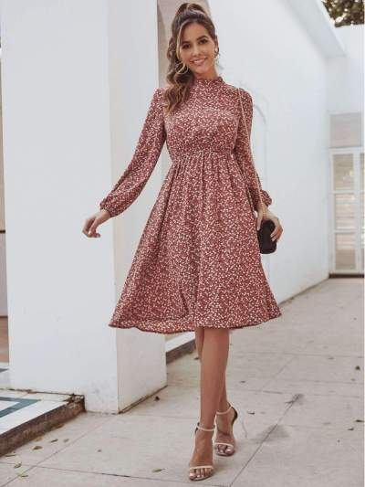 Fashion Point print Long sleeve Skater Dresses