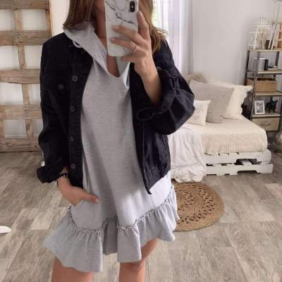 Casual Pure Long sleeve Hoodies Shift Dresses
