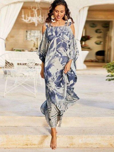 Casual Print Off shoulder Long sleeve Maxi Dresses