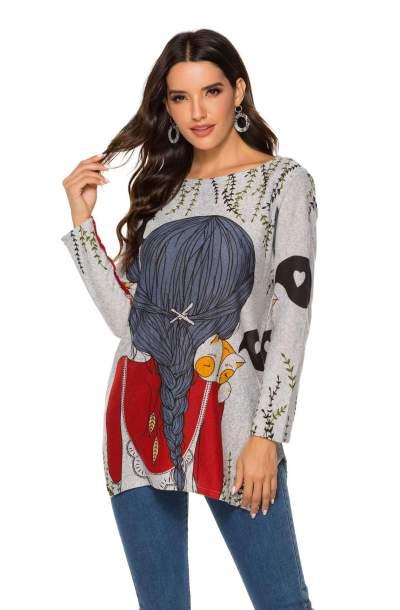 Fashion Cartoon print Round neck Knit T-Shirts