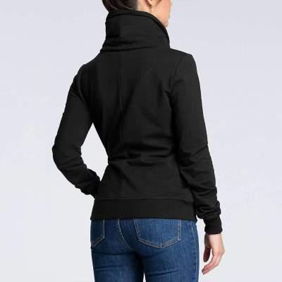 Fashion Irregular Zipper High collar Long sleeve Sweatshirts