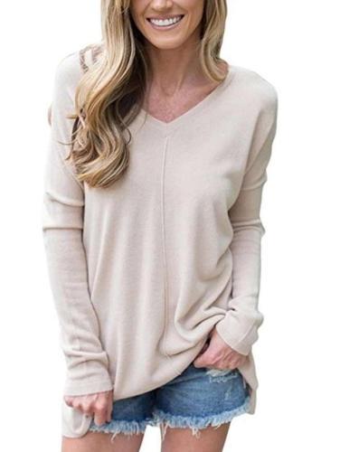 Fashion V neck Long sleeve T-Shirts