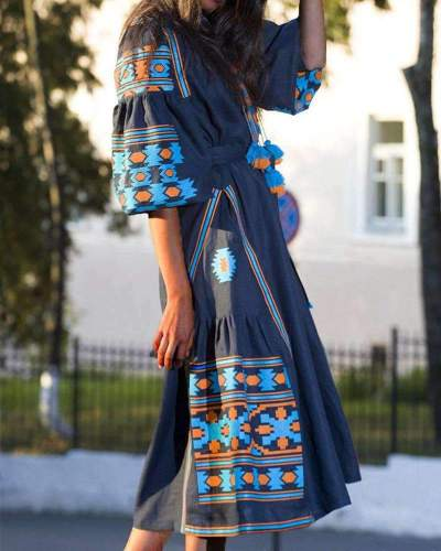 Fashion Casual Loose Print V neck Half sleeve Maxi Dresses