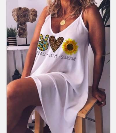 Casual Loose Print V neck Vest Shift Dresses