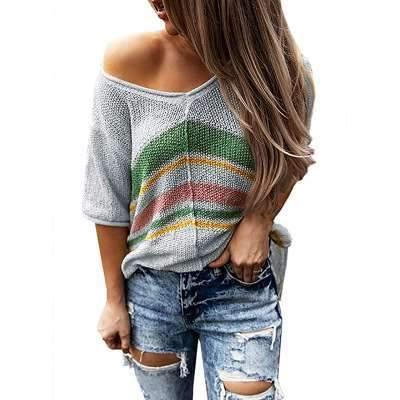 Casual Stripe V neck Half sleeve Knit Sweaters