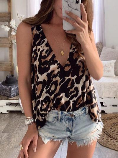 Loose sexy deep V leopard printed vests