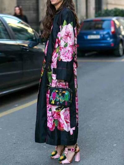 Women long big lapel long sleeve printed Trench coats