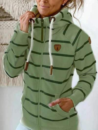 Women casual zipper stripe hoodies