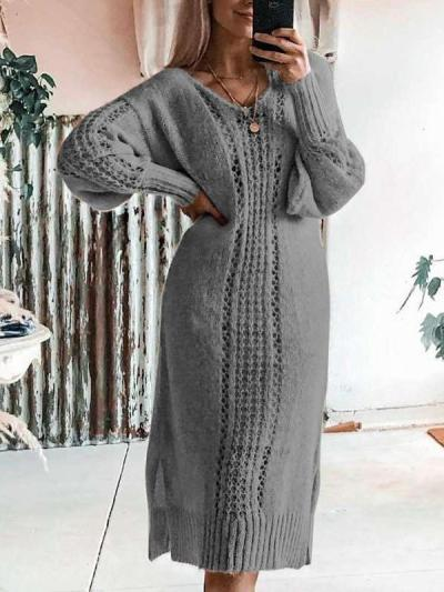 Fashion Pure Hollow out Knit Sweater Maxi Dresses