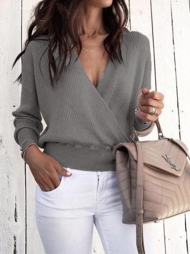 Sexy V Neck Long Sleeve Mini Knitting Sweaters