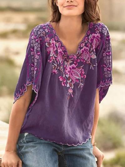 Women Flower Printed V neck Short Sleeve T-shirts