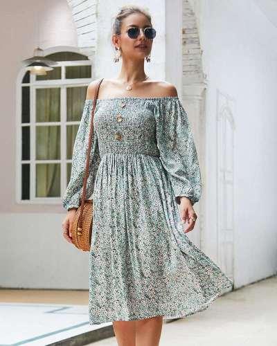 Fashion Floral Long sleeve Skater Dresses