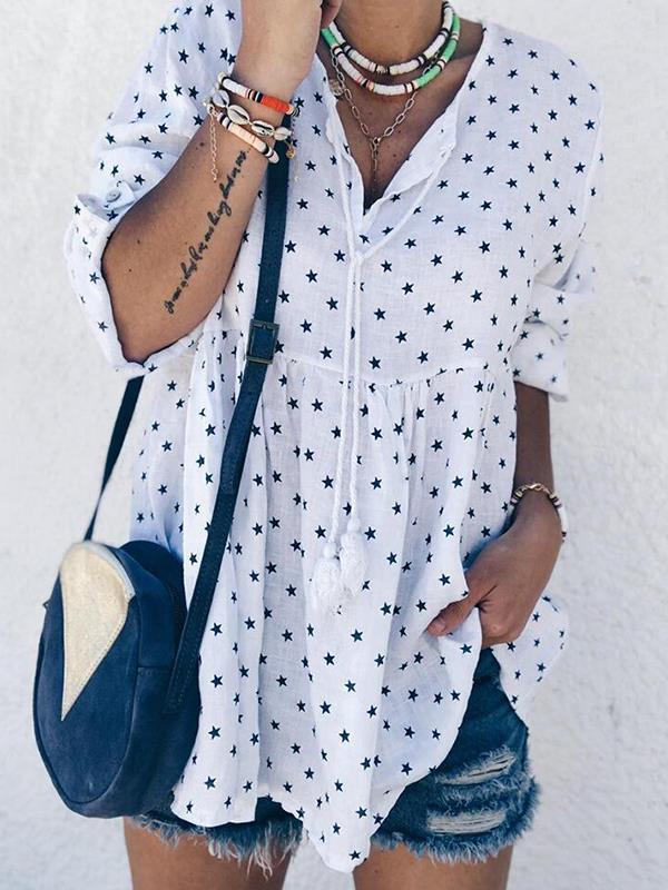 Loose casual women printed long sleeve blouses