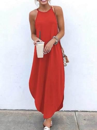 Women band neck fashioon sleeveless plain maxi dresses