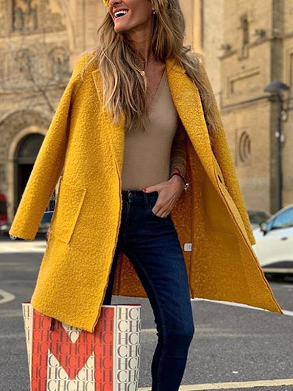 Loose women woolen long sleeve long coats