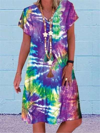 Casual Loose Print V neck Short sleeve Shift Dresses