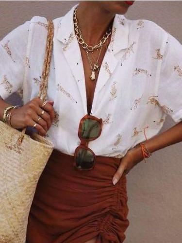 Fashion Print Lapel Short sleeve Blouses