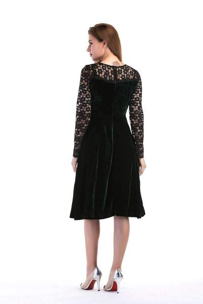 Fashion Lace Hollow out Round neck Long sleeve Skater Dresses