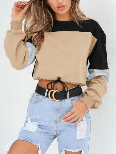 Splice Round Neck Long Sleeve Colorful Sweatshirts