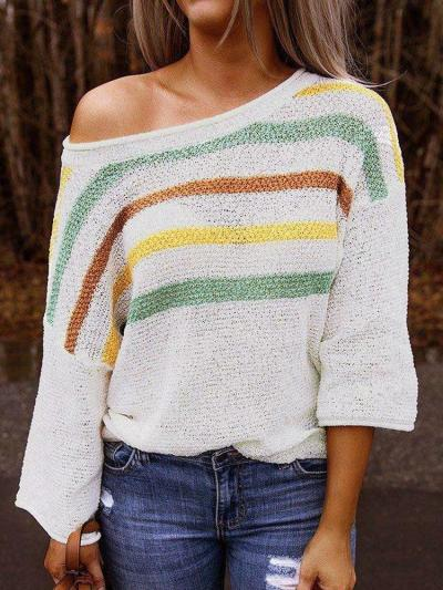 Fashion Stripe Long sleeve One shoulder Knit Sweaters