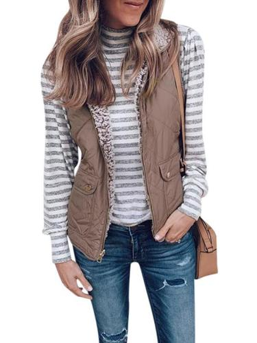 Zipper double pocket blouse wam vest waistcoat