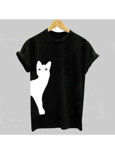 Women Casual Cat Print Cotton T-Shirts