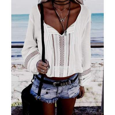 Fashion Loose Hollow V neck Long sleeve T-Shirts