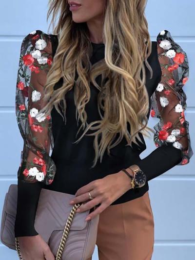 Women flower printed fashion puff sleeve blouses