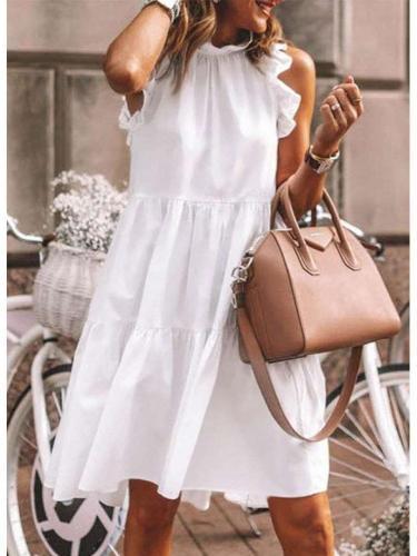 Casual Loose Pure Falbala Gored Sleeveless Shift Dresses