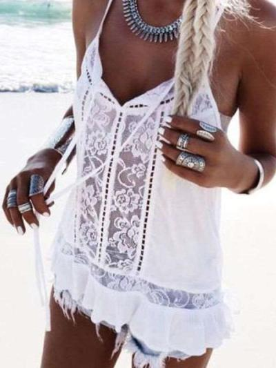 Sexy Pure V neck Lace Hollow out Vests