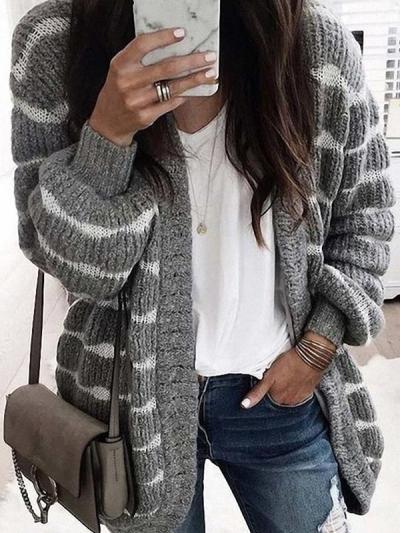 Women knit stripe soft sweaters cardigans