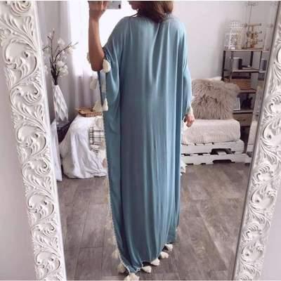 Fashion Casual V neck Long sleeve Macrame Maxi Dresses