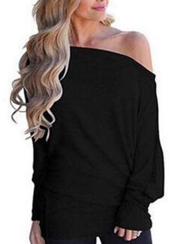 Plain knit long bat sleeve one off shoulder T-shirts