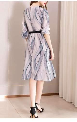 Fashion Print Lacing Round neck Long sleeve Skater Dresses