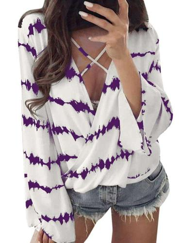 Fashion Loose Print V neck T-Shirts