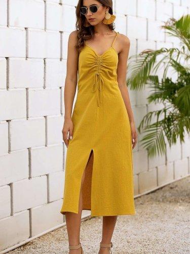 Fashion Pure V neck Lacing Vest Maxi Dresses
