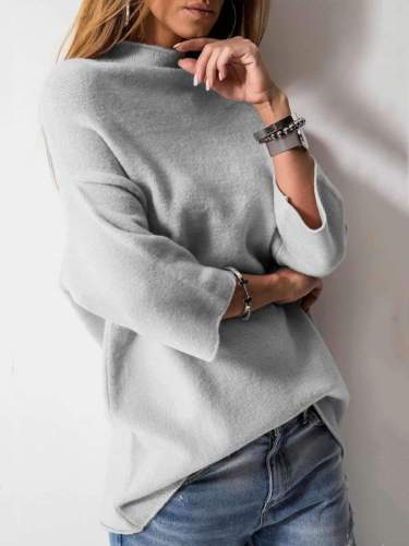 Casual High collar Three quarter sleeve Knit Sweaters