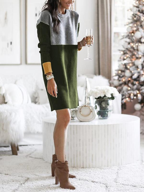 Loose round collar knit long sleeve shift dresses