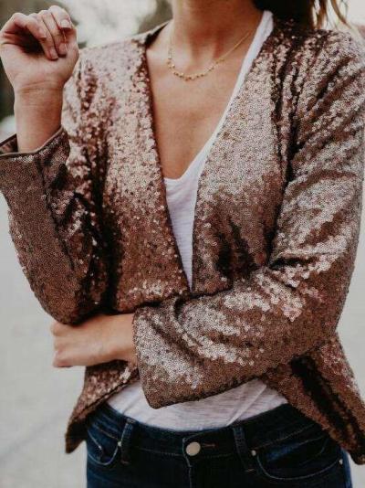 Fashion  Paillette Long sleeve Cardigan Coat
