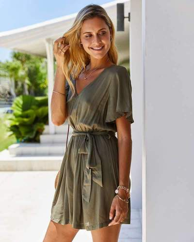 Pure V neck Lacing Short sleeve Jumpsuits