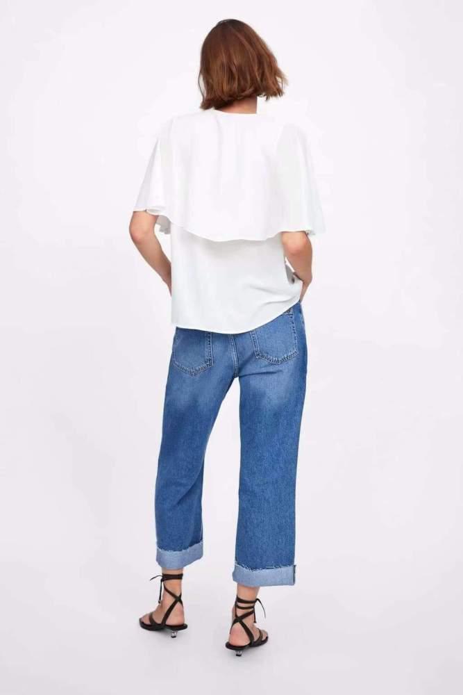 Fashion V neck Cloak sleeves Chiffon T-Shirts