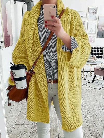 Solid color casual long cardigan sweater coats