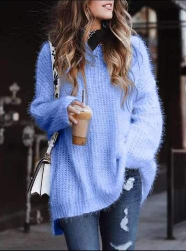 Casual Loose Pure Plush V neck Long sleeve Knit Sweaters