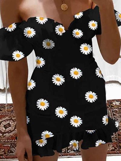 Sexy Print One shoulder Short sleeve Falbala  Skater Dresses