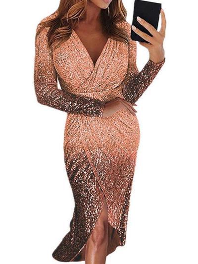 Sexy elegant v neck long sleeve evening dresses