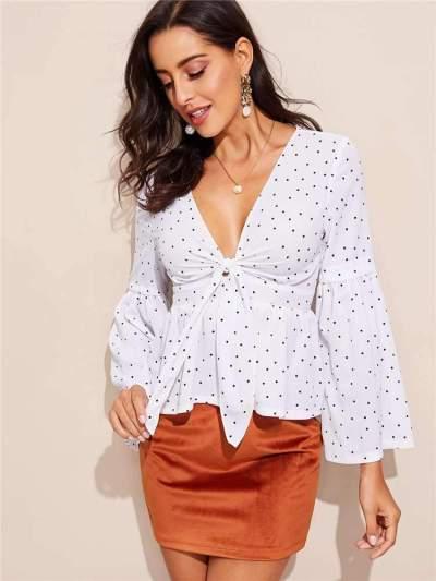 Fashion Point print V neck Lacing Long sleeve Blouses