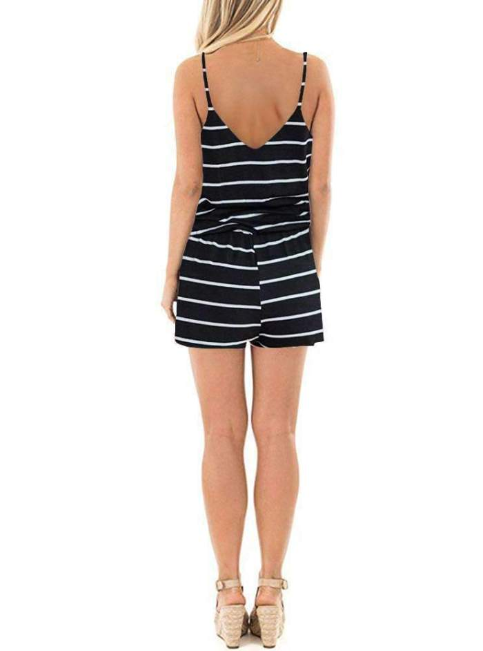 Fashion Stripe Vest V neck Jumpsuits