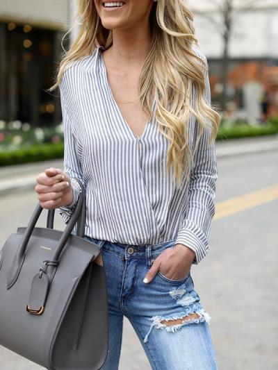 V-neck long sleeve pullover vertical stripes blouses